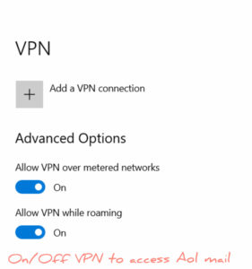 change vpn when ur unable to connect to aol mail