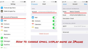 how to change email display name on iphone
