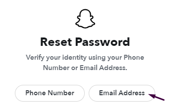 email address to change snapchat password